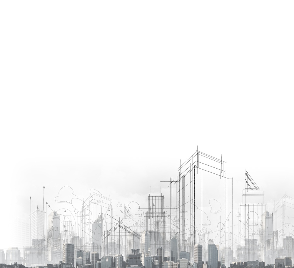 Background image with drawings of modern city